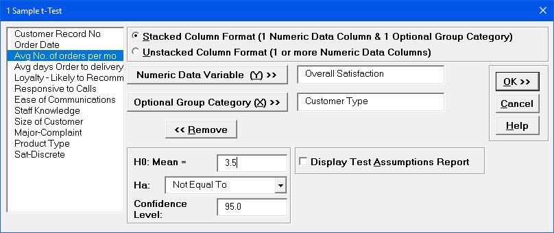 1 Sample t-Test