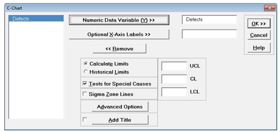 SigmaXL nP-Chart Options