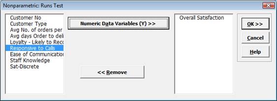 Nonparametric Runs Test Variables