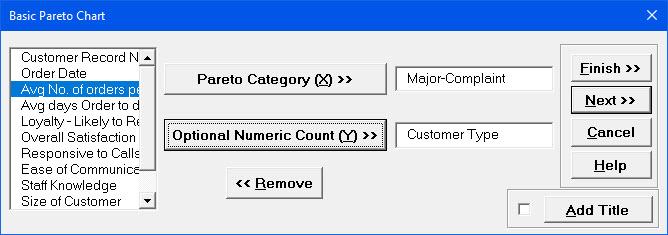 Pareto Chart Variables