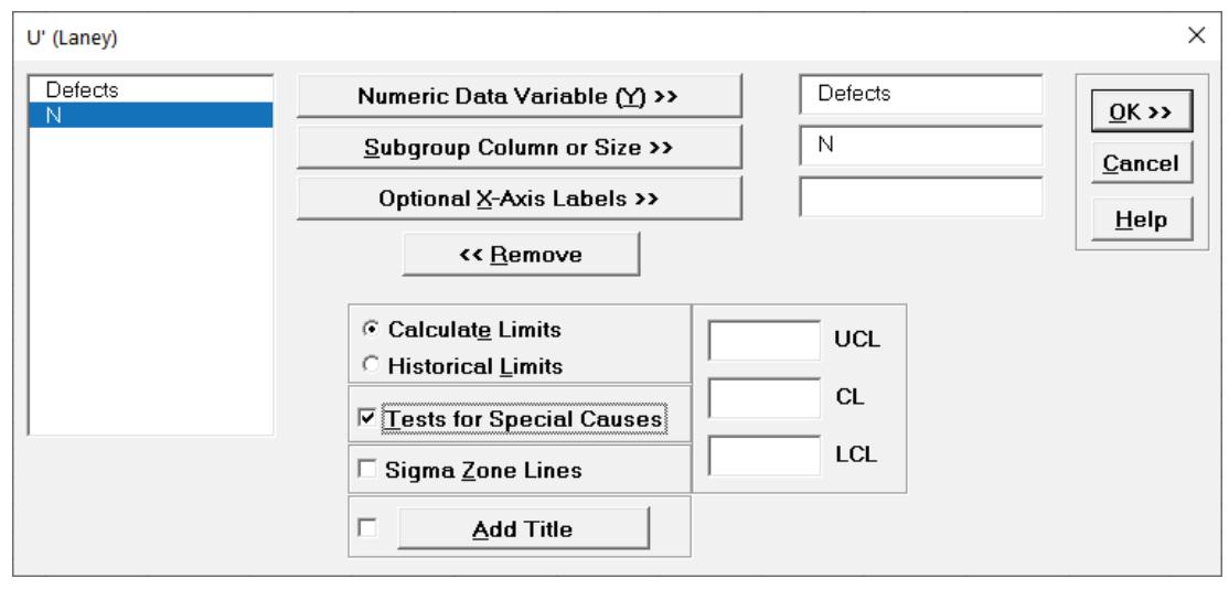 SigmaXL U'-Chart
