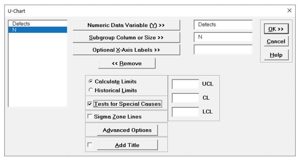 SigmaXL u-Chart Options