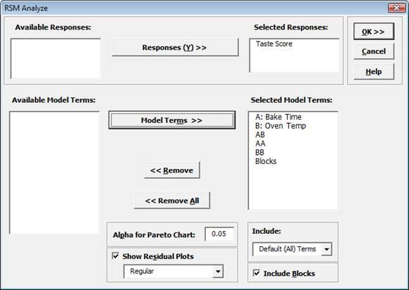 Response Surface Methods Analyze