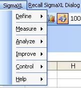 SigmaXL DMAIC Menu