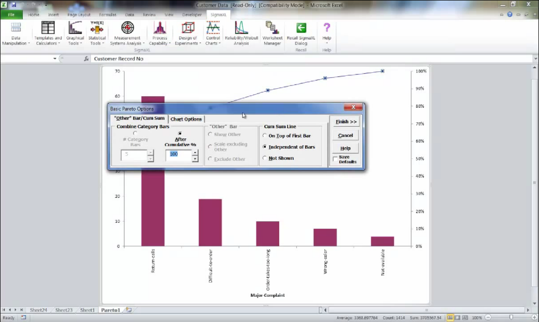 Sigmaxl create pareto charts in excel using sigmaxl ccuart Images