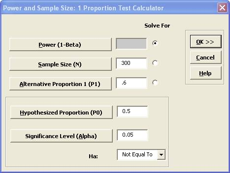 Sigmaxl Perform A Power And Sample Size Calculation For