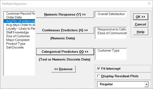 Multiple Regression Response and Predictors