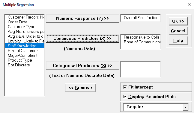 Multiple Regression Variables